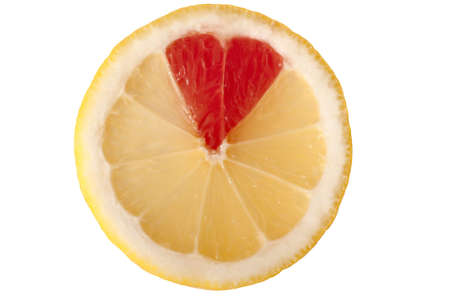 Lemon and grapefruit combination form a heart silhouette Stock Photo - 16133679