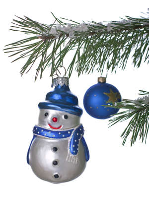 Snowman on a Christmas tree on a white background