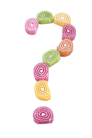 question mark of candy isolated on a white background Stock Photo - 16481390