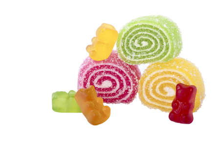chewy: chewy candy and jelly on white background Stock Photo