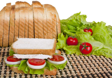 Sandwich with beef, tomato and onion on a white background