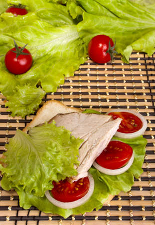 sandwich with beef, lettuce and tomato Stock Photo