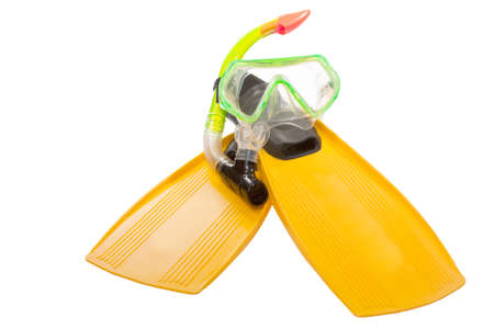 flippers and mask for diving isolated on white background