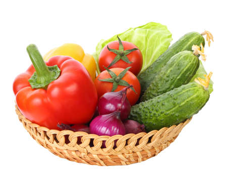 basket with vegetables set isolated on a white background
