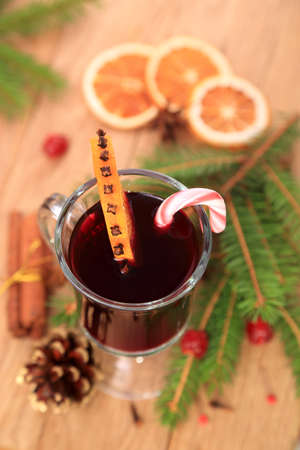Christmas mulled wine, top view photo