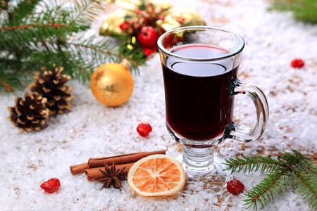 Christmas mulled wine and ingridenty in the snow Stock Photo - 21959714