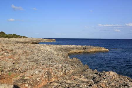 Rocky sea formed by frozen lava.  Mallorca. Spain. Stock Photo