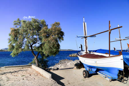 Fishing boats in the dock at the seaside. Mallorca.Spain. Stock Photo