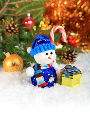 Christmas composition with snow and a snowman  space for text