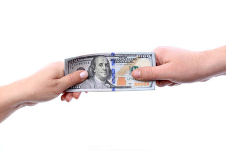 The transfer of arms in the hands of new U S  hundred dollar bills put into circulation in October 2013  Stock Photo