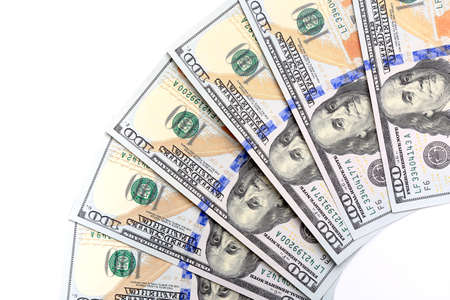 new U S  hundred-dollar bills, folded like a fan, put into circulation in October 2013  Stock Photo
