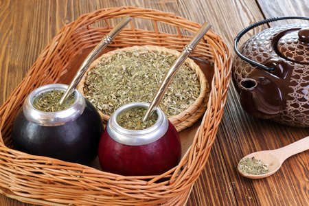 Yerba mate and mate in calabash on a wicker tray on a wooden background