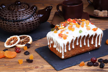 candied: Homemade cottage cheese cake with candied fruit and icing sugar