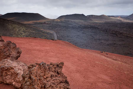 Territory of the national volcanic park of Timanfaya, the island of Lanzarote, Canary Islands, Spain