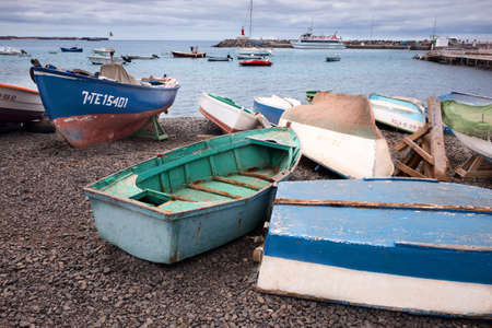 Fishing boats on the beach in the port of the village of Playa B