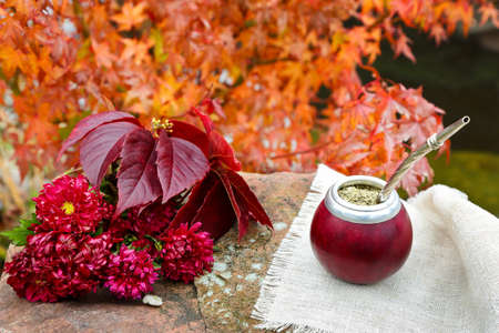 Матеский чай в калабасе на каменном столе в саду