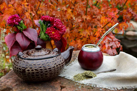 Mate tea in a calabash on a stone table in the garden Stock Photo
