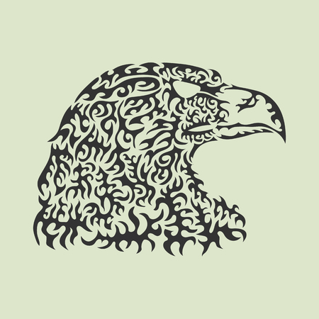 Vector illustration of an eagle head made of patterned elements