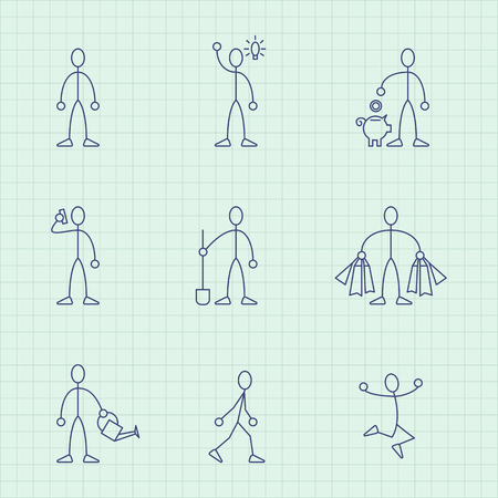 bod: Vector drawing from lines of simple little men in different situations