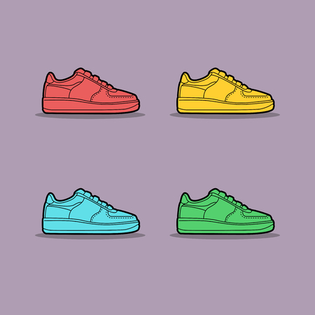 Vector illustration of multi-colored sneakers