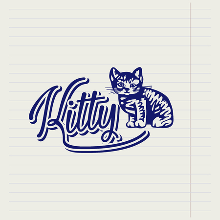 Vector hand drawn logo with a kitten Illustration