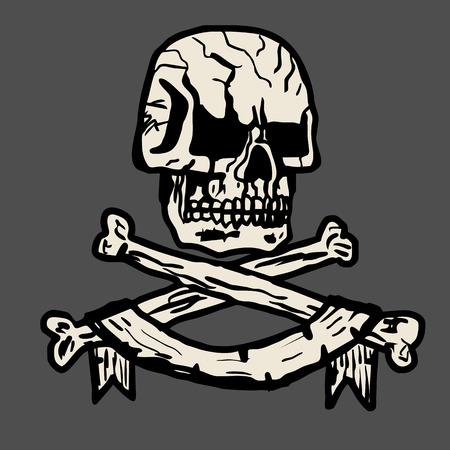 Vector hand-drawn illustration of a pirate skull Illustration