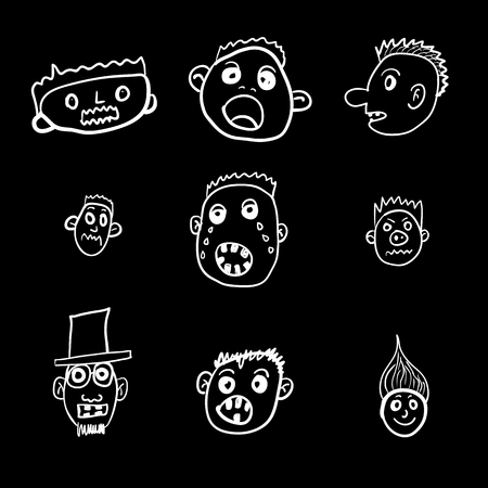 Set of vector illustrations of terrible persons