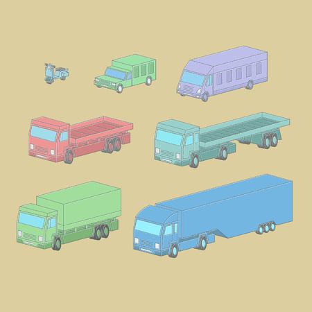 Single-line illustration Vehicle in isometric vector set