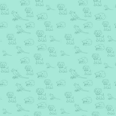 Seamless vector lineart animals pattern from textile