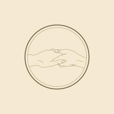 icon of gentle handshake in vector illustration line