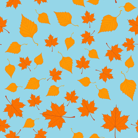 Seamless pattern with autumn leaves in vector for text decoration