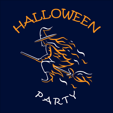 witch on a broomstick, halloween party, vector illustration Illustration