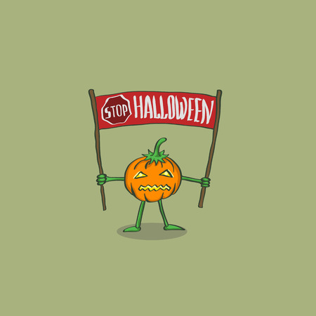 Vector Illustration of a pumpkin with the words Stop Halloween