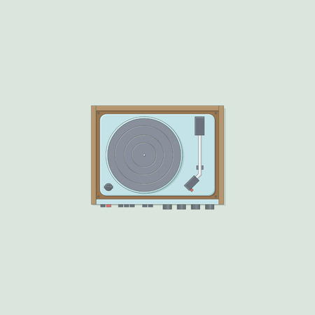 Turntable vector retro illustration for disc jokey Illustration