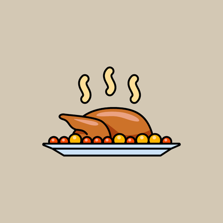 Festive baked turkey. Illustration in vector. Color icon