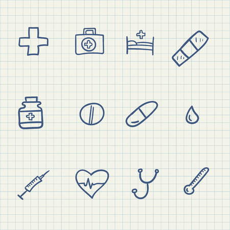 Set of hand drawn medical related icons in vector