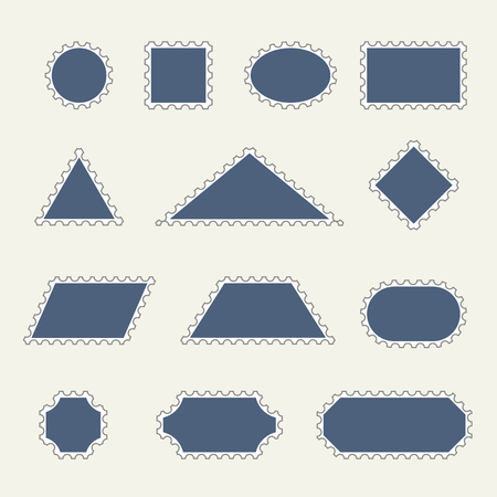 Templates of stamps of different shapes and types in vector
