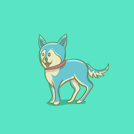 simple blue dog cartoon illustration isolated object