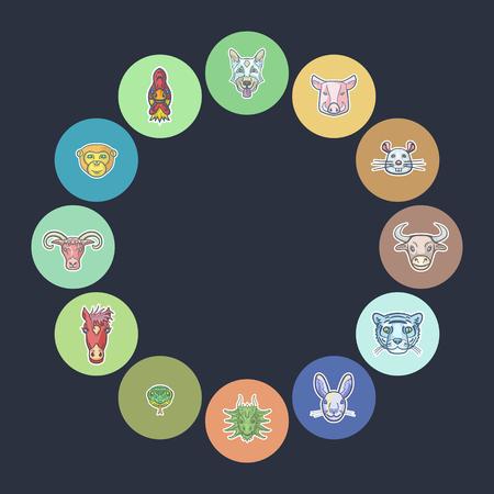 twelve animals of the Chinese astrological calendar vector illustration Ilustração