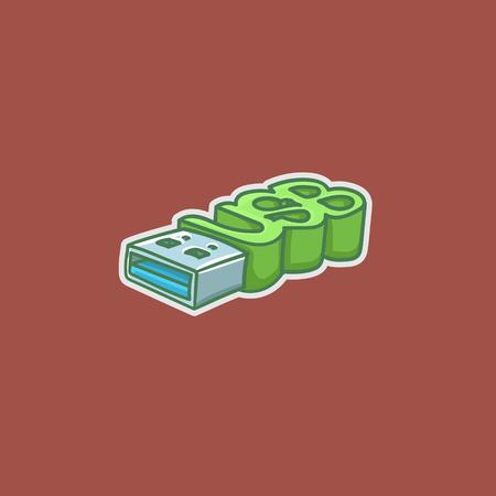 hand-drawn simple illustration of usb flash drive