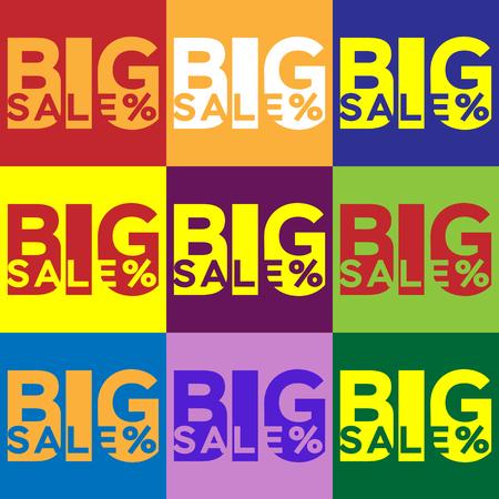 inscriptions for a big sale in different colors Ilustração