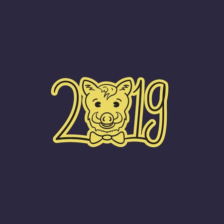 Happy new year. Boars year. 2019. Vector illustration Ilustração