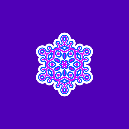 bright illustration of isolated colored snowflake in vector
