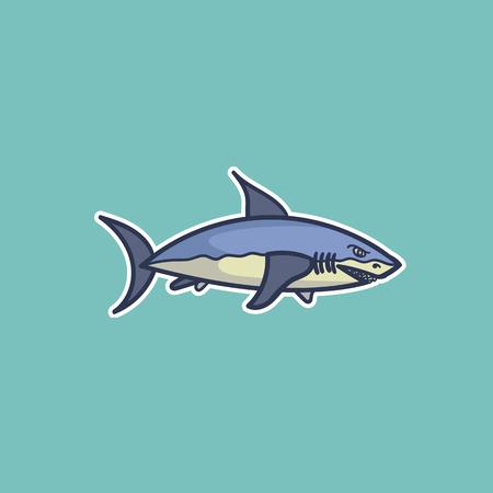 simple color illustration of cartoon shark in vector