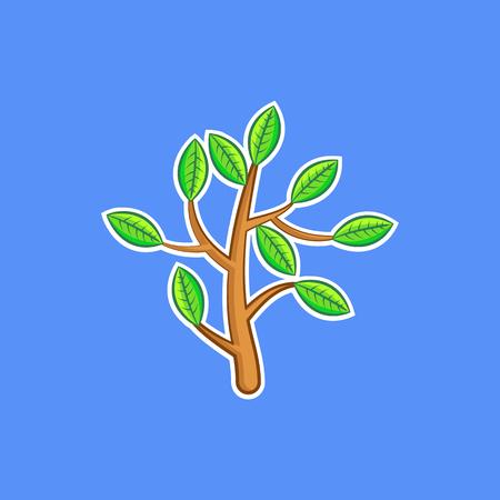 Simple color cartoon illustration of a bush branch in vector