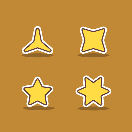 set of gold different stars in vector