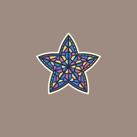 vector illustration of a multicolored stained glass star