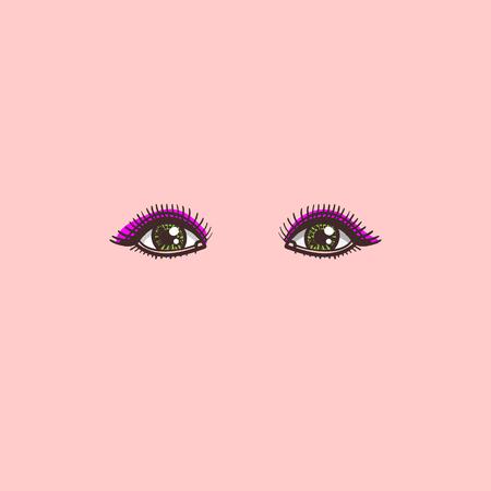 color isolated illustration of female eyes in vector Ilustração