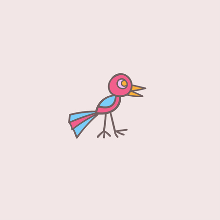 vector color isolated illustration of funny little bird