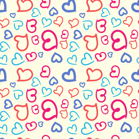 Seamless vector pattern of multicolored hand-drawn hearts.
